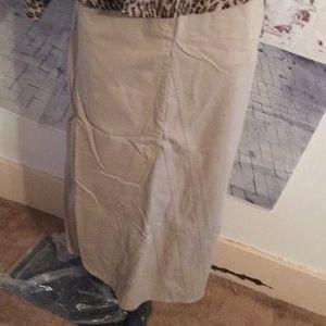 💯 cotton beige long jean skirt